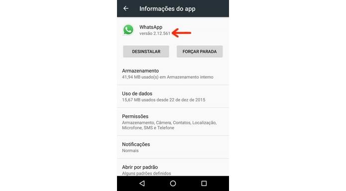 Versão beta do WhatsApp com recurso são v2.12.560 e v2.12.561 (Foto: Reprodução/Raquel Freire)