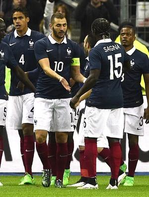 Varane comemora gol da França contra o Brasil (Foto: Agência AFP)
