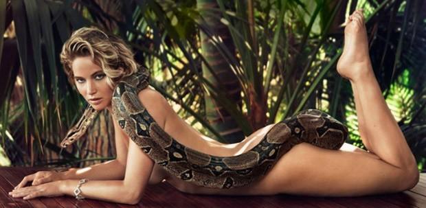 Jennifer Lawrence e a célebre imagem da cobra (Foto: Reprodução/Vanity Fair)