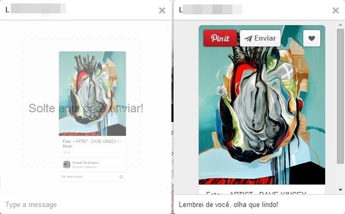 Janelas de mensagem; à esquerda, pin sendo arrastado, e à direita mensagem sendo enviada (Foto: Reprodução/Raquel Freire)