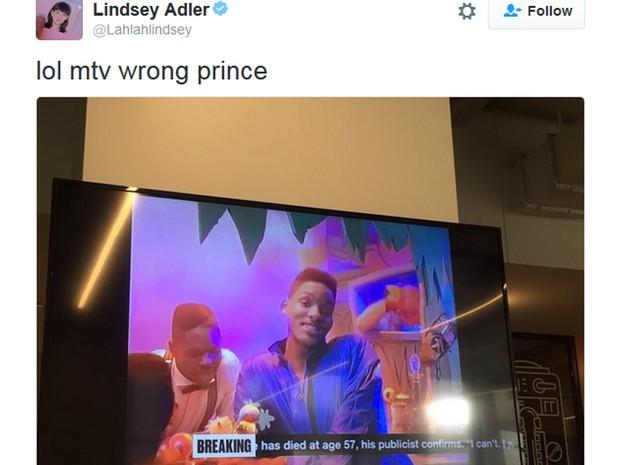 Usuária do Twitter mostra trecho de homenagem a Prince que exibiu clipe de 'Fresh Prince of Bel-Air' na MTV dos EUA (Foto: Reprodução / Twitter)