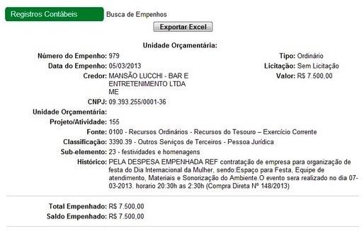Empenho da prefeitura mostra pagamento de R$ 7.500 ao clube onde ocorreu a festa  (Foto: Reprodução Ciaci)