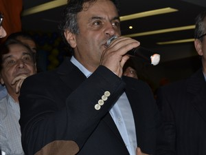 Aécio Neves visita o ES e fala sobre reação de Dilma à Copa (Foto: Victoria Varejão/ G1)