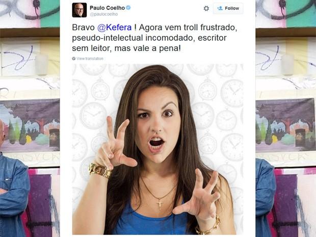 O escritor Paulo Coelho faz amizade com Kéfera em rede social (Foto: Reprodução/Twitter)