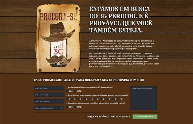 Site da campanha 'Em Busca do 3G Perdido' da associação ProTeste. (Foto: Reprodução/ProTeste)