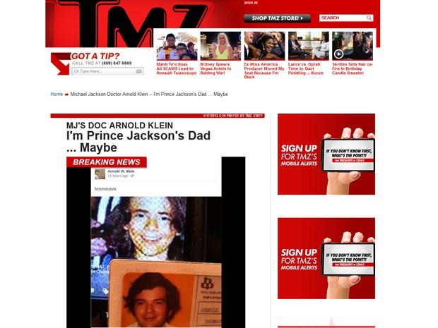 Notícia desta quinta-feira (17), do site TMZ, mostra a foto publicada pelo dermatologista Arnold Klein, mostrando semelhança entre ele e o filho de Michael Jackson, Prince Jackson (Foto: Reprodução/ Site Tmz.com)