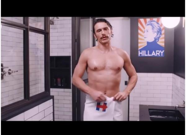 O ator Jmes Franco no vídeo em apoio à candidata Hillary Clinton (Foto: Instagram)