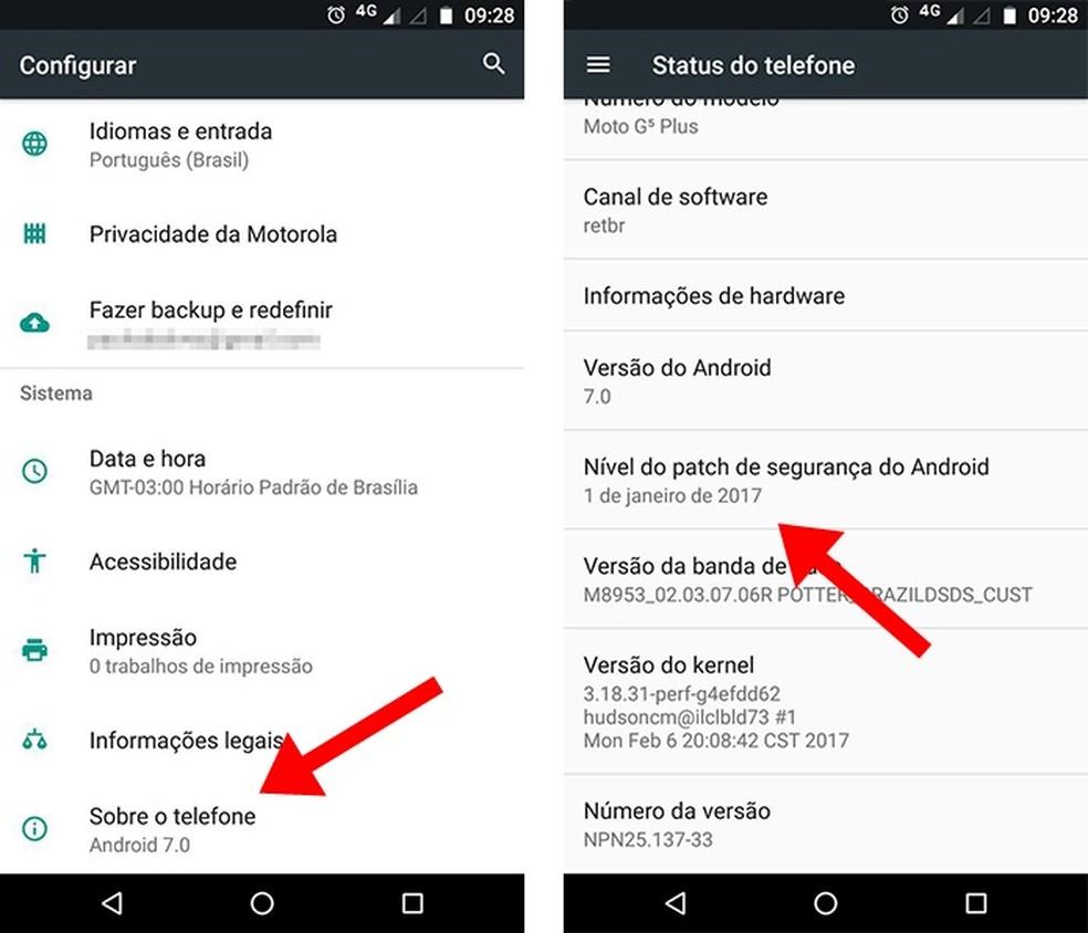 Verifique a data do último pacote de segurança do seu celular (Foto: Reprodução/Paulo Alves)