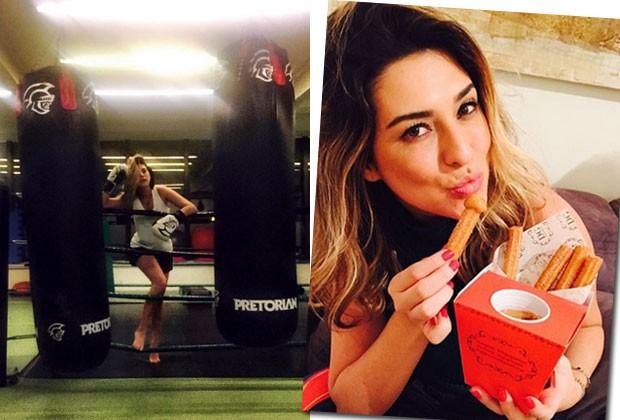 """Fernanda na aula de boxe e devorando um churros: """"Não dá pra cortar algo da alimentação"""" (Foto: Reprodução/Instagram)"""