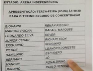 Ronaldinho está relacionado para pegar o Bahia (Foto: Marcelo Jordy / TV Globo Minas)