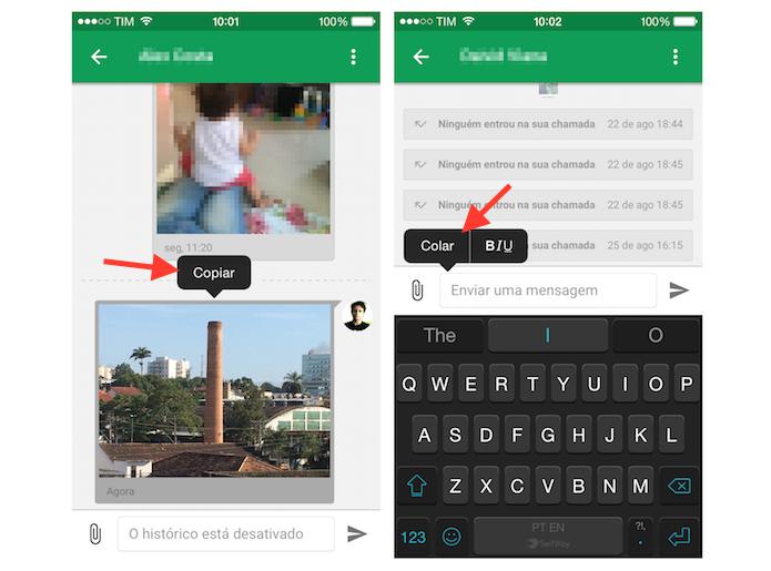 Copiando e colando uma imagem de uma conversa para outra no Hangouts para iPhone (Foto: Reprodução/Marvin Costa)