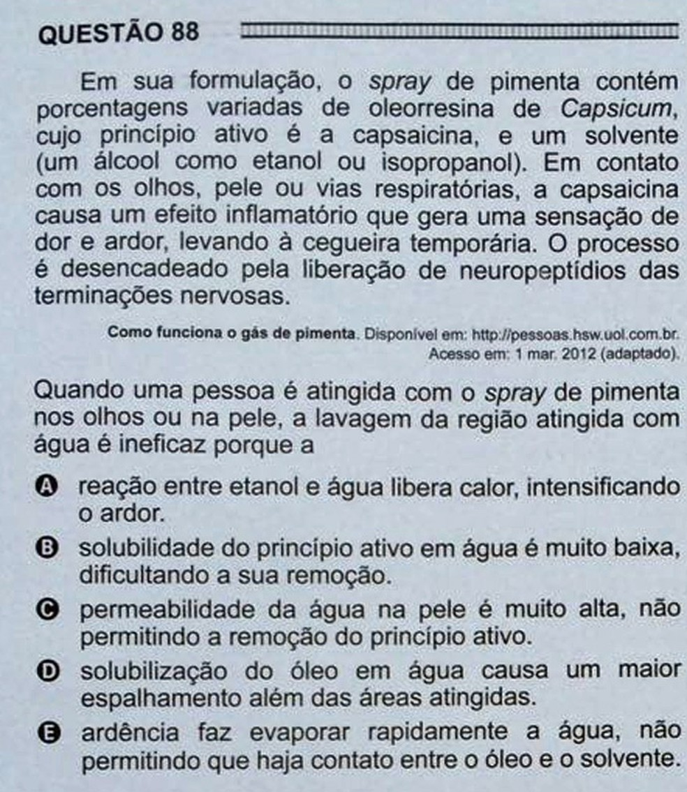 ENEM 2016 - 1º DIA - PROVA BRANCA - QUESTÃO 88 (Foto: G1 )