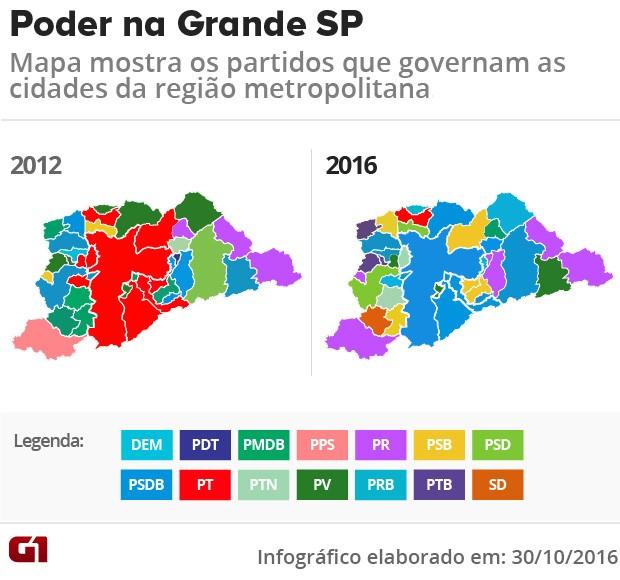 Mapa apuração grande São Paulo (Foto: Editoria de Arte/G1)