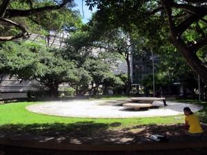 Praça da 308 Sul: projeto paisagístico de Burle Marx (Foto: Jamila Tavares / G1)