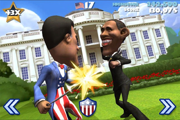 Barack Obama, ao fundo, e Mitt Romney se enfrentam em uma briga virtual no game 'Vote: The Game' (Foto: Divulga&#231;&#227;o)