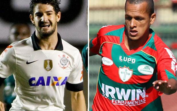 Alexandre Pato e Souza Corinthians x Portuguesa (Foto: Montagem sobre foto da Agência Estado)