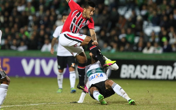 Rogério, do São Paulo, finaliza e observa a bola contra o Coritiba (Foto: Rubens Chiri / saopaulofc.net)