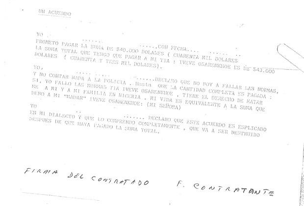 Contrato de prostitutas nigerianas que cedem sua vida para os traficantes (Foto: Reprodução)
