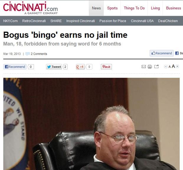 Juiz Douglas Grothaus proibiu o jovem de dizer a palavra como medida alternativa de punição (Foto: Reprodução)