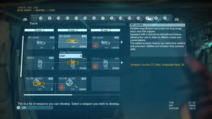 Atualize seus binóculos na Mother Base para poder ler os atributos dos inimigos marcados (Foto: Reprodução/Cássio Barbosa)