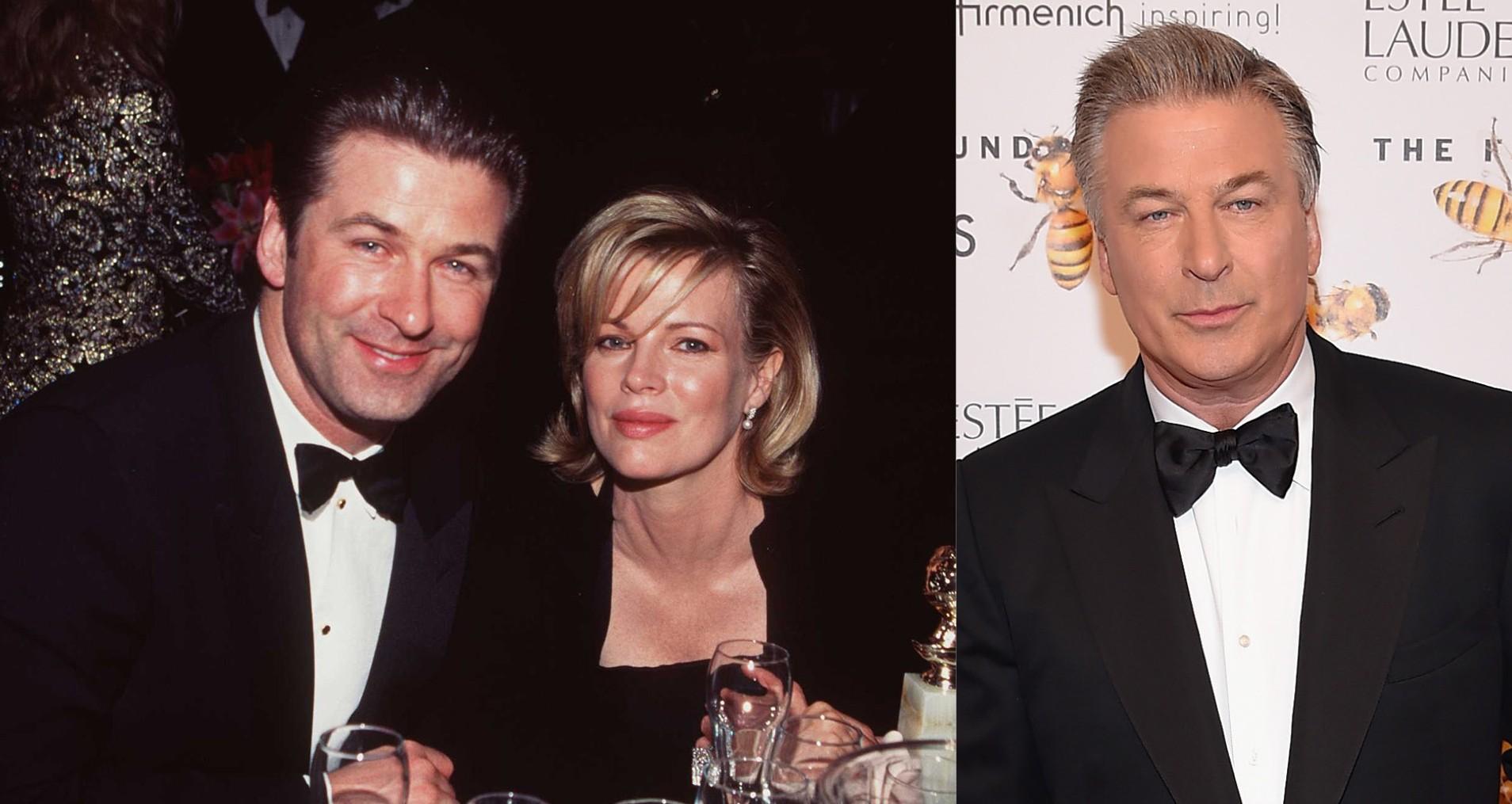 Alec Baldwin e Kim Basinger em 1998. E Alec Baldwin em 2015 (Foto: Getty Images)