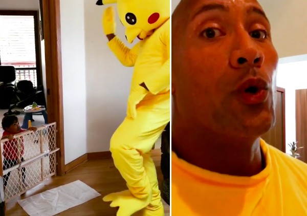 O ator Dwayne 'The Rock' Johnson vestido como Pikachu (Foto: Instagram)