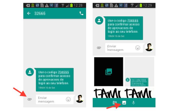 Utilizando a ferramenta de envio de imagens do Messenger do Google no Android (Foto: Reprodução/Marvin Costa)
