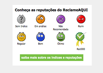 Reclame Aqui mostra ícones de reputação no site (Foto: Reprodução/Reclame Aqui)