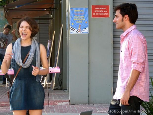 Mico total! Micaela desafina na audição para o musical. (Foto: Malhação / TV Globo)