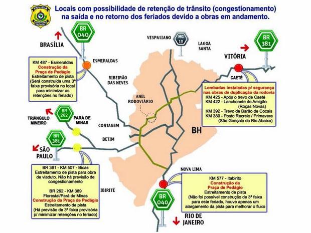 PRF identifica possíveis pontos de retenção devido a obras em MG (Foto: Polícia Rodoviária Federal - MG / Divulgação)