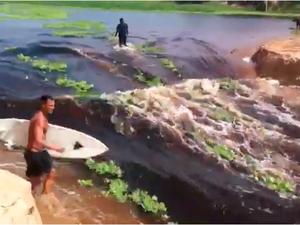 Surfistas aproveitaram rompimento da divisão para se jogar na água (Foto: Reprodução)