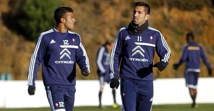 Rafael Alcântara e Charles durante treino no Celta de Vigo (Foto: Jorge Santomé/Faro de Vigo)