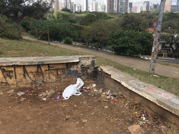 Lixo fica espalhado em diferentes pontos (Foto: Márcio Pinho/G1)