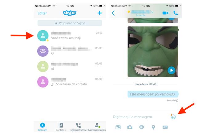 Acessando os mojis do Skype no iPhone (Foto: Reprodução/Marvin Costa)