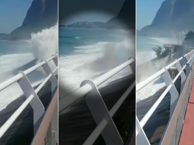 Vídeo mostra momento em que ciclovia desaba na Avenida Niemeyer (Foto: Reprodução / Globo)