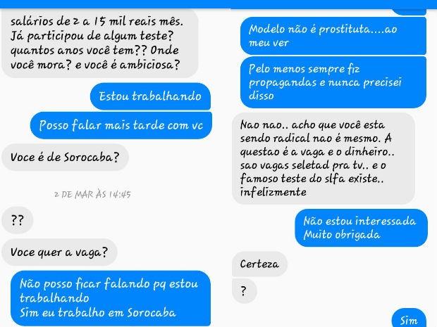 Em mensagens enviadas pela internet o jovem ofereceu dinheiro a mulher  (Foto: Arquivo pessoal)
