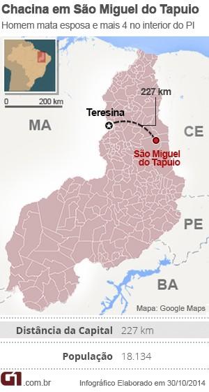Mapa São Miguel do Tapuio - OK (Foto: Adelmo Paixão Neto/G1)