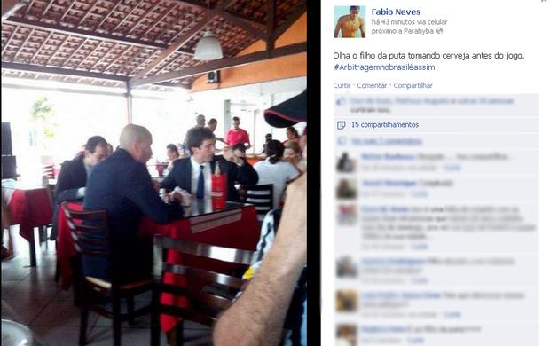Fabio Neves, Meia do Botafogo-PB, Campeonato Brasileiro, Série D, árbitro, Central-PE, acusação, cerveja (Foto: Reprodução / Facebook)