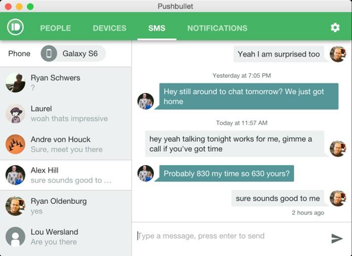 Todas as mensagens de SMS são sincronizadas em tempo real (Reprodução/site do Pushbullet)