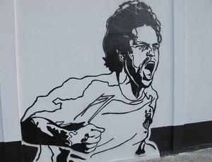 Desenho de Diego no muro do CT Rei Pelé, do Santos (Foto: Marcelo Hazan / Globoesporte.com)