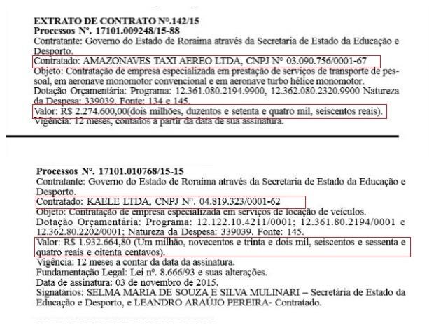 Na foto acima os detalhes do contrato da empresá de táxi aéreo e abaixo da empresa especializada em locação de veículos. (Foto: Reprodução/ Diário Oficial do Estado)