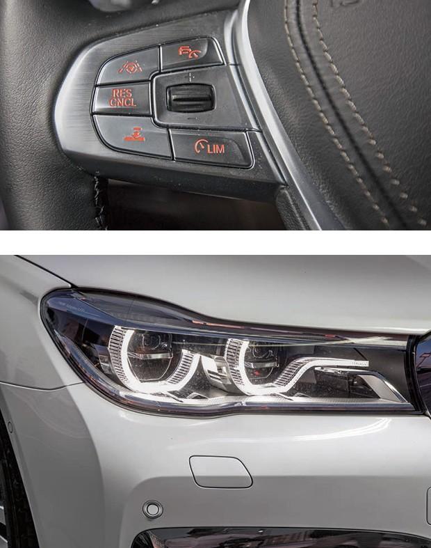 O controlador de velocidade é mais intuitivo de acionar  no 750Li M Sport. Faróis adaptativos (Foto: Marcos Camargo)