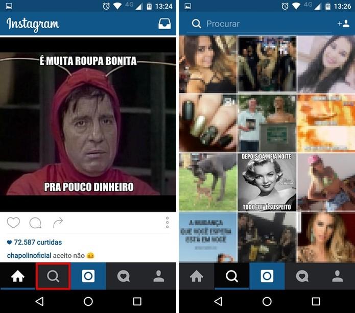 Acessando a página de busca do Instagram (Foto: Felipe Alencar/TechTudo)