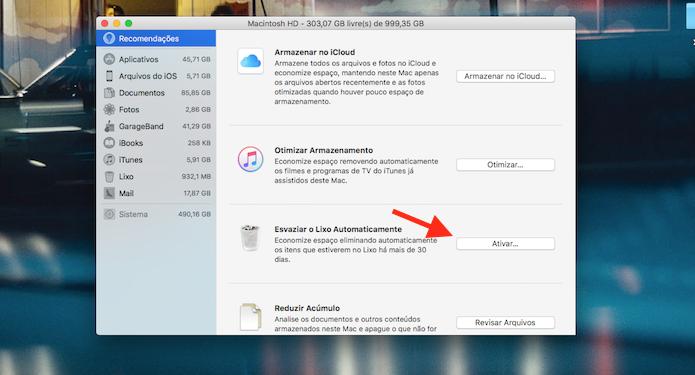 Opção para ativar a exclusão automática de arquivos na lixeira do Mac (Foto: Reprodução/Marvin Costa)