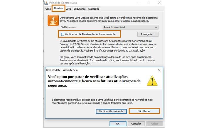 Desative as notificações do Java Update (Foto: Reprodução/Barbara Mannara)