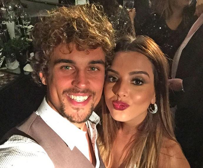 Felipe Roque e Giovanna Lancellotti durante festa de lançamento de 'A Regra do Jogo' (Foto: Arquivo pessoal)