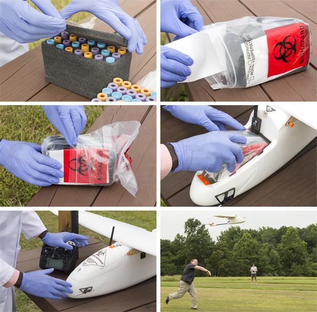 Fotos mostram como especialistas embalam amostras de sangue para as acomodarem dentro do drone  (Foto: PLOS ONE/Reprodução)