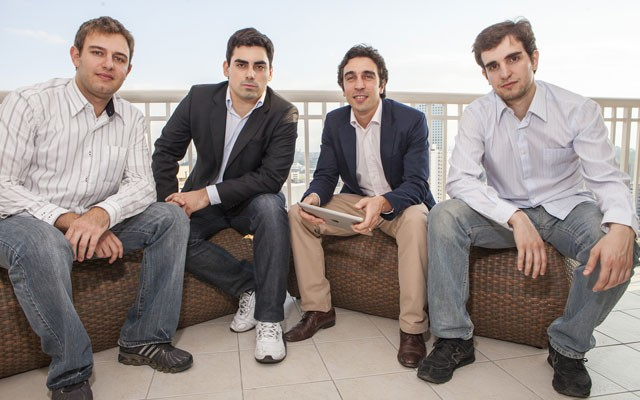 Gustavo Rahmilevitz, Felipe Rezende, Carlos Grieco e Guilherme Otranto, sócios da EvoBooks, editora digital que desenvolve conteúdo interativo (Foto: Divulgação/EvoBooks)