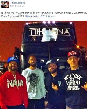 Postagem em perfil da banda mostra que eles iriam para João Monlevade (Foto: Reprodução Facebook)