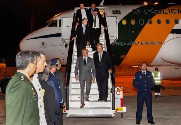 Chegada do presidente Michel Temer a Portugal (Foto: Beto Barata/PR)